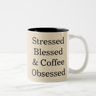 Betont gesegnete u. Kaffee besessen gewesene Zweifarbige Tasse