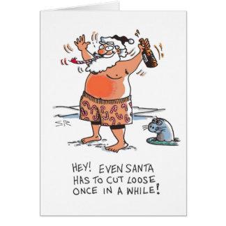 Betrunkene Sankt-Cartoon Weihnachtskarte Karte