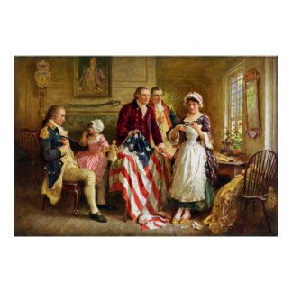 Betsy Ross und General George Washington Poster