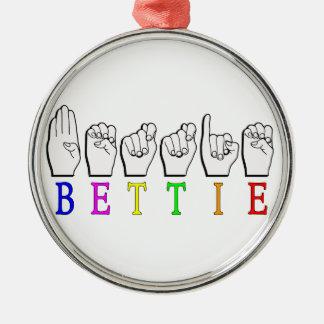 BETTIE ASL FINGERSPELLED NAMENSzeichen Rundes Silberfarbenes Ornament