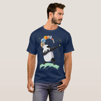 Betupfender Panda auf dem Mond-Raum-Klecks-Entwurf T-Shirt
