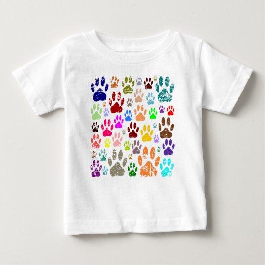 Beunruhigte bunte Dow-Tatzen-Drucke Baby T-shirt