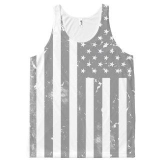 Beunruhigte graue und weiße amerikanische Flagge Komplett Bedrucktes Tanktop