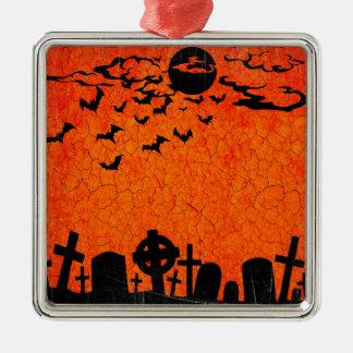 Beunruhigter Friedhof - orange schwarzer Quadratisches Silberfarbenes Ornament