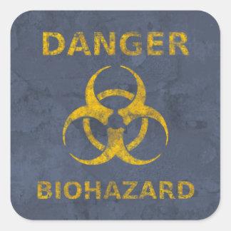 Beunruhigtes Biogefährdung-Warnzeichen Quadratischer Aufkleber