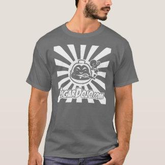 Beunruhigtes weißes Dojologo auf Dunkelheit T-Shirt
