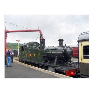 Bewässerung einer Lokomotive Postkarte
