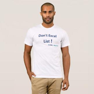 Bewegen Sie sich von Excel auf die T-Shirt