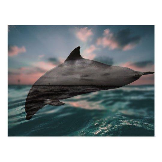 Beweglicher Delphin der Landschaft|, der in den Postkarte