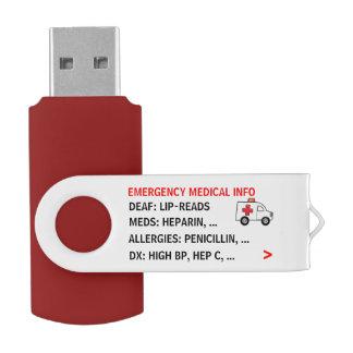 Beweglicher Notmedizinisches Info (personalisiert) USB Stick