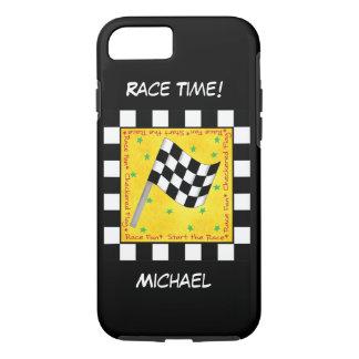 Bewegungsrennen-Zeit-Schwarz-weißer Checkered iPhone 7 Hülle