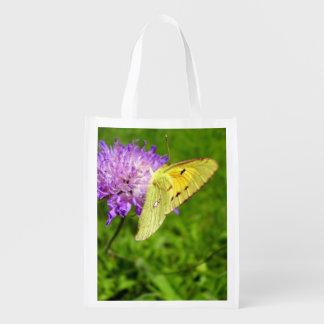 Bewölkte gelber Schmetterlings-wiederverwendbare Wiederverwendbare Einkaufstasche