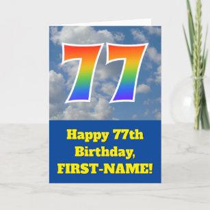"""Bewölkter blauer Himmel, Regenbogen-Muster """"77"""" Karte"""