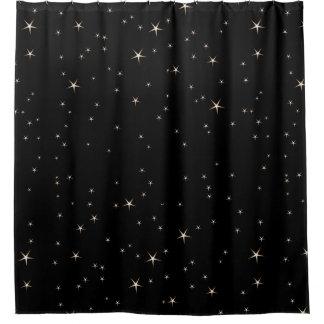 Bezaubernde Goldsterne auf schwarzem Hintergrund Duschvorhang