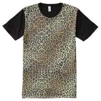 Bezaubernde Leopard-Druck-und Goldfolie T-Shirt Mit Bedruckbarer Vorderseite