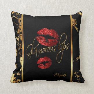 Bezaubernde rote Glitter-Lippen Kissen