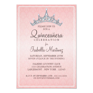 Bezaubernde Tiara Quinceanera Feier-Einladung 12,7 X 17,8 Cm Einladungskarte