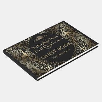 Bezaubernde Wedding Goldkunst-Deko-Pfaus Gästebuch
