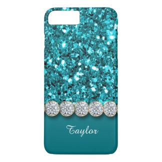 Bezaubernder aquamariner Glitter und funkelnd iPhone 7 Plus Hülle