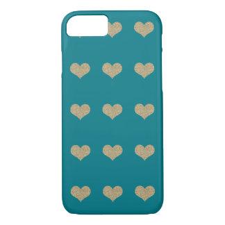 Bezaubernder Glitter-Herz-Türkis iPhone 7 Fall iPhone 8/7 Hülle