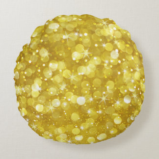Bezaubernder GoldBokeh Glitter Rundes Kissen