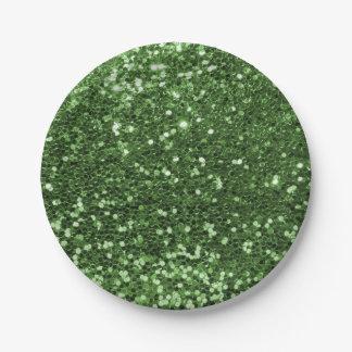 Bezaubernder grüner Imitat-Glitter-Schein-Druck Pappteller