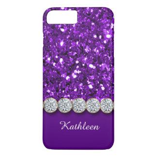 Bezaubernder lila Glitter und funkelnd iPhone 8 Plus/7 Plus Hülle