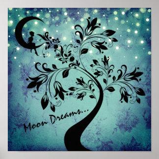 Bezaubernder Mond-Traum-Mädchen-und Blumen-Baum Poster