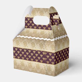 Bezauberndes Burgunde Goldweißes Geschenkschachtel