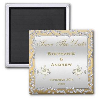 Bezauberndes Gold u. Wedding Silber-Diamanten u. Quadratischer Magnet