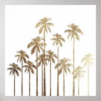 Bezauberndes Goldtropische Palmen auf Weiß Poster