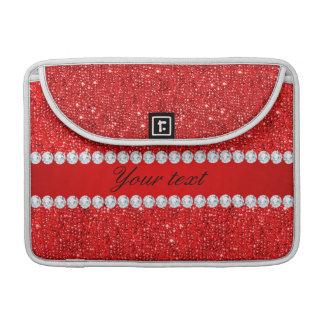 Bezauberndes Imitat-rote Sequins und Diamanten Sleeve Für MacBooks