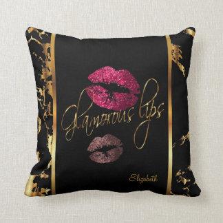 Bezauberndes Rosa farbige Glitter-Lippen Kissen