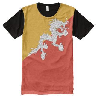 Bhutan-Flagge voll T-Shirt Mit Bedruckbarer Vorderseite