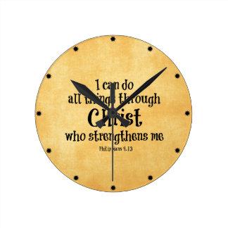 Bibel-Vers: Ich kann alle Sachen durch Christus Runde Wanduhr