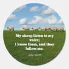 Bibel-Vers, John-10:27, mein Schaf… Runder Aufkleber