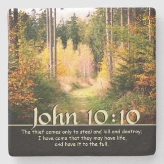Bibel-Vers John 10 inspirieren 10 Herbst-Weg Steinuntersetzer