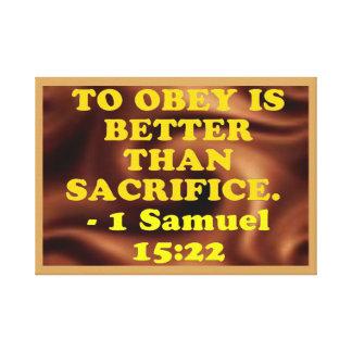 Bibel-Vers von 1 Samuel-15:22. Leinwanddruck