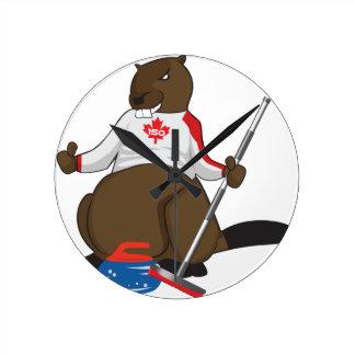 Biber-kräuselnhauptleitung Kanadas 150 im Jahre Runde Wanduhr