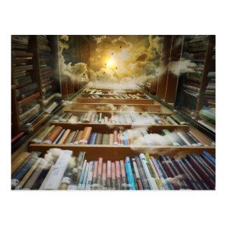 Bibliothek im Himmel Postkarte