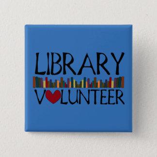 Bibliotheks-freiwillige Bücher - ändern Sie Farbe Quadratischer Button 5,1 Cm