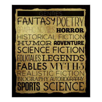 Bibliotheks-Genre-Klassenzimmer-Plakat Poster
