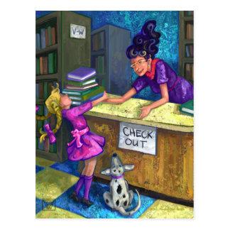 Bibliotheks-Karo-heraus Postkarte