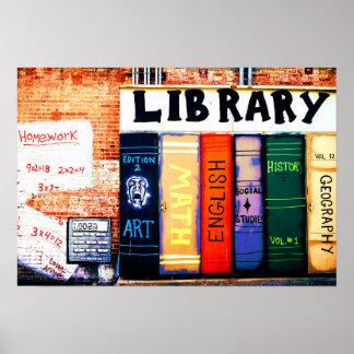 Bibliotheks-Wand-Graffiti-Plakat Poster