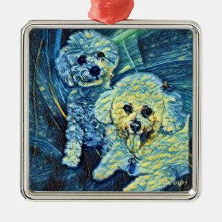 """Bichon Frise Hunde""""sternenklare Nacht"""" Verzierung Silbernes Ornament"""