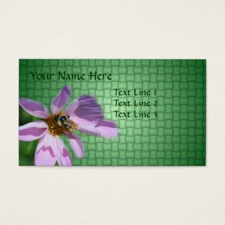 Biene auf rosa Kosmos-Blumen-Natur Visitenkarte
