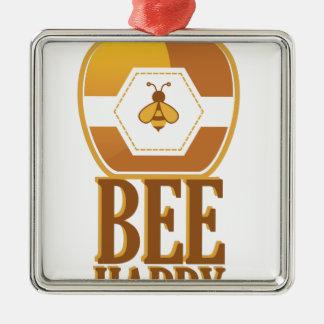 Biene glücklich quadratisches silberfarbenes ornament