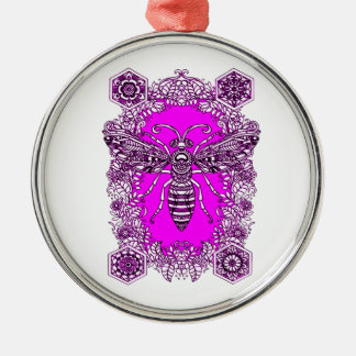 Biene Rundes Silberfarbenes Ornament