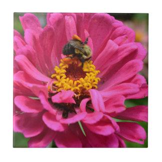 Biene und rosa Blume Kleine Quadratische Fliese