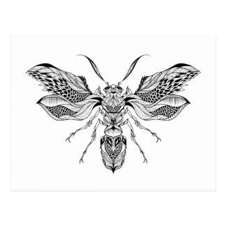 Biene-Wespe Tätowierung Postkarte